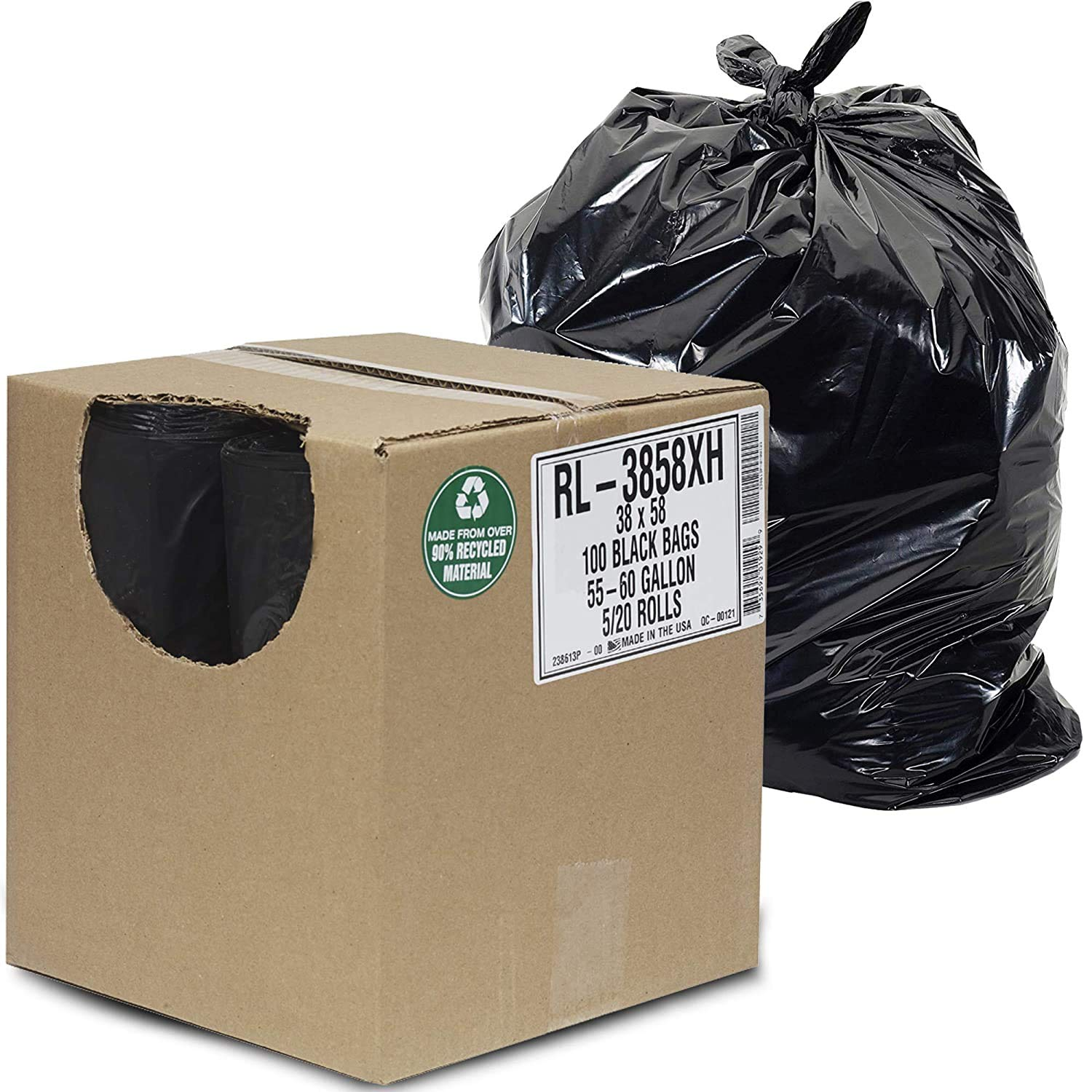 """Aluf Plastics - RL-3858XH 55 Gallon Trash Can Liners (100 Count) - 38"""" x 58"""" - Thick 1.5 MIL Equivalent Black Trash Bags for Bathroom, Kitchen, Office, Industrial, Commercial, Recycling and More"""