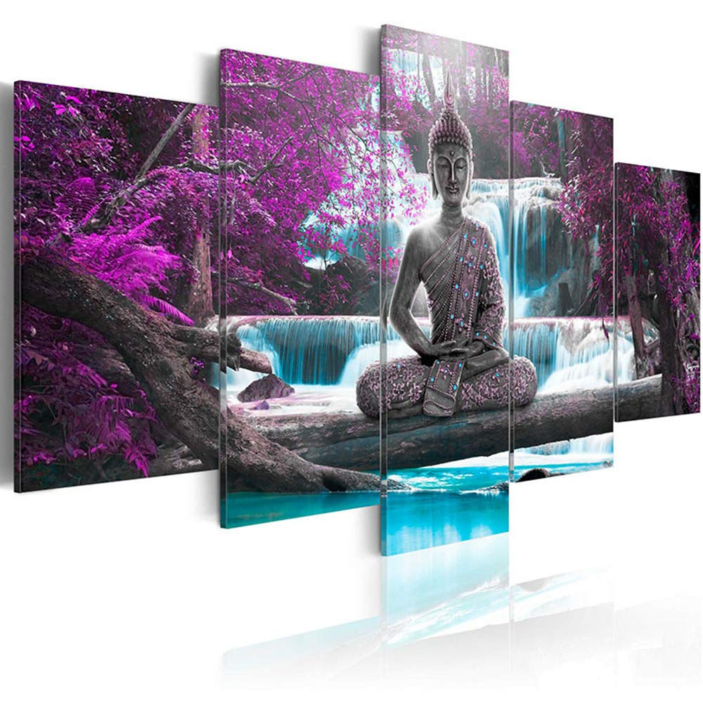"""AWLXPHY Decor Buddha Wall Art Canvas Painting Framed 5 Panels for Living Room Decoration Modern Landscape Buddha Waterfall Trees Zen Stretched Artwork Giclee (Purple, 40""""x20"""")"""