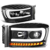 DNA Motoring HL-HPL-RM06-G-BK-CL1 Pair LED DRL+Sequential Chasing Turn Signal Headlight Replacement