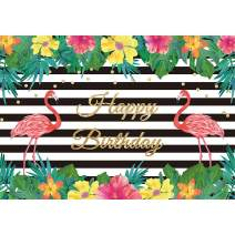 Allenjoy 7x5ft Summer Flamingo Party Happy Birthday Party Black and White Banner Backdrop Tropical Hawaiian Beach Luau Photography Background Girls Kids Children Party Decor Photo Booth