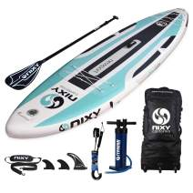 """NIXY Newport Paddle Board All Around Inflatable SUP 10'6"""" x 33"""" x 6"""" Ultra-Light Stand Up Paddleboard Built with Dual Layer Dropstitch Includes Paddle, Leash, Pump, Shoulder Strap, and Bag"""