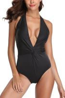 ALove Gradient One Piece Swimsuit for Women Backless Strap Halter Bathing Suit