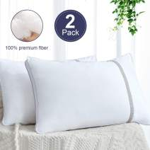 BedStory Hotel Quality Pillows for Sleeping, 2 Pack Down Alternative Hypoallergenic Bed Pillows with Breathable Cotton Cover Skin-Friendly Standard Size, White