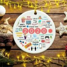 LACE INN 2020 Christmas Ornament Quarantine, Hanging Christmas Decorations for Christmas Tree, Remembering 2020 Annual Events Christmas Ornament (Ceramic, 20PCS)