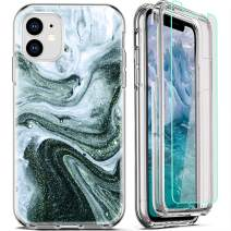 FIRMGE for iPhone 11 Case, with [2 x Tempered Glass Screen Protector] 360 Full-Body Coverage Hard PC+Soft TPU Silicone 3 in 1 Military Grade Heavy Duty Shockproof Phone Protective Cover Marble 03