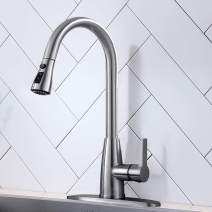 Hotis High Arc Single Handle Stainless Steel Brushed Nickel Pull Down Sprayer Kitchen Faucet,Kitchen Sink Faucet with Deck Plate