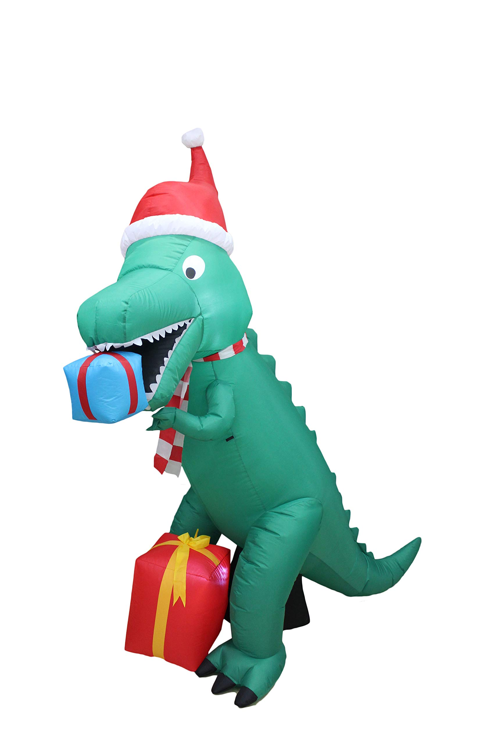 7 Foot Tall Christmas Inflatable Dinosaur with Gift Boxes Cute Lights Lighted Blowup Party Decoration for Outdoor Indoor Home Garden Family Prop Yard