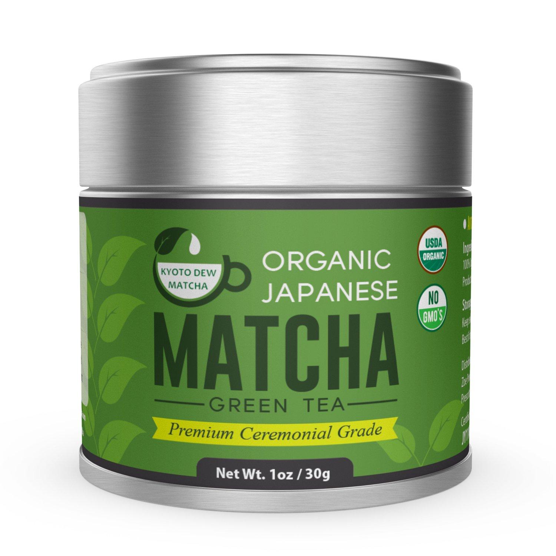 Kyoto Dew Matcha – Organic Premium Ceremonial Grade from Japan Matcha Green Tea Power – Radiation Free, Non Fillers, Zero Sugar – USDA & JAS Certified Organic 30g (1oz) Tin