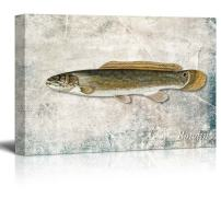 wall26 - Green Bowfin Fish Illustration on a Textured Background - Canvas Art Home Decor - 24x36 inches