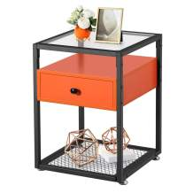 VECELO Nightstand, Tempered Glass End Table, Cabinet with Drawer and Rustic Shelf Decoration in Living Room,Bedroom,Lounge, Orange