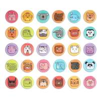 SUPCOOKI 30pcs Glass Refrigerator Magnets Decorative Magnet Animal World 1.1 inch Mini Funny Fridge Magnet Fun Fridge Stickers Cute Home Decoration for Office Cabinets Whiteboards Photo Abstract