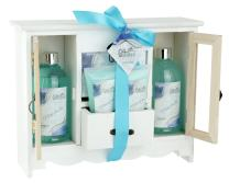 Spa Gift Basket with Refreshing Ocean Bliss Fragrance, Best Mother's Day, Birthday, Anniversary Gift for Women, Girls, Gift Set Includes Shower Gel, Bubble Bath, Bath Salt, Body Lotion and Body Scrub