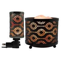 Himalayan Glow Natural Salt lamp with Salt Chunks in Mosaic Design Metal Basket Night Light Combo Pack by WBM