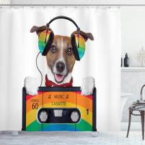"""Ambesonne Popstar Party Shower Curtain, Dog Listening to Music from an Old Cassette of The 80's Colorful Headphones, Cloth Fabric Bathroom Decor Set with Hooks, 84"""" Long Extra, White Orange"""