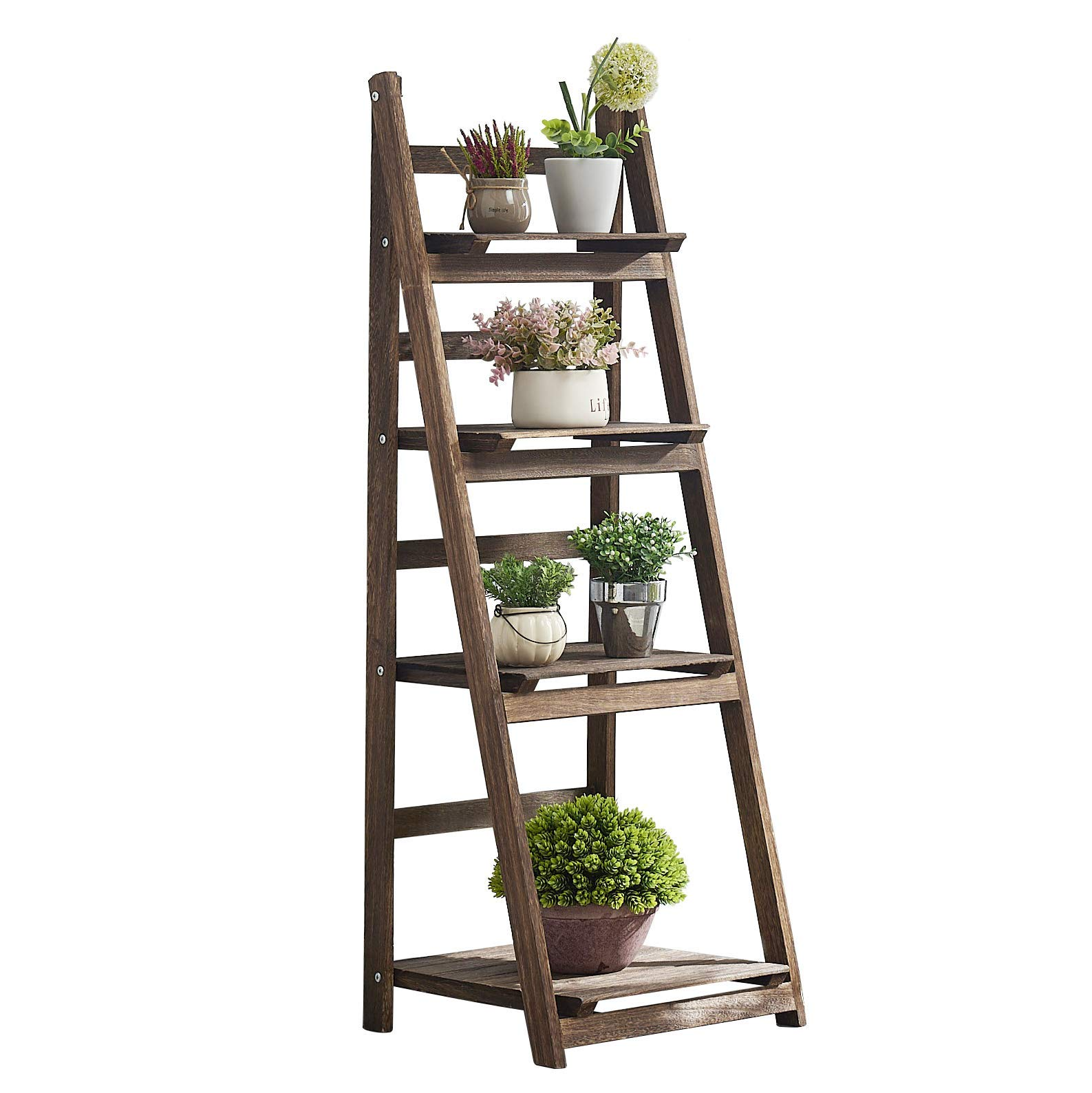 """RHF 44"""" Foldable Plant Shelf,Plant Stand,Indoor Flower Pot Holder,Flower Pot Ladder,Folding A Frame Display Shelf,Patio Rustic Wood Stand with Shelves,4 Tier Stand Outdoor,Pot Rack, Free Standing"""