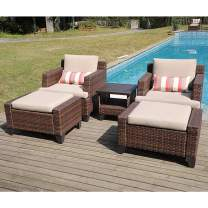 SUNSITT 5-Piece Outdoor Furniture Set Brown Wicker Lounge Chair and Ottoman Set with Beige Cushions & Side Table w/Aluminum Slatted Top