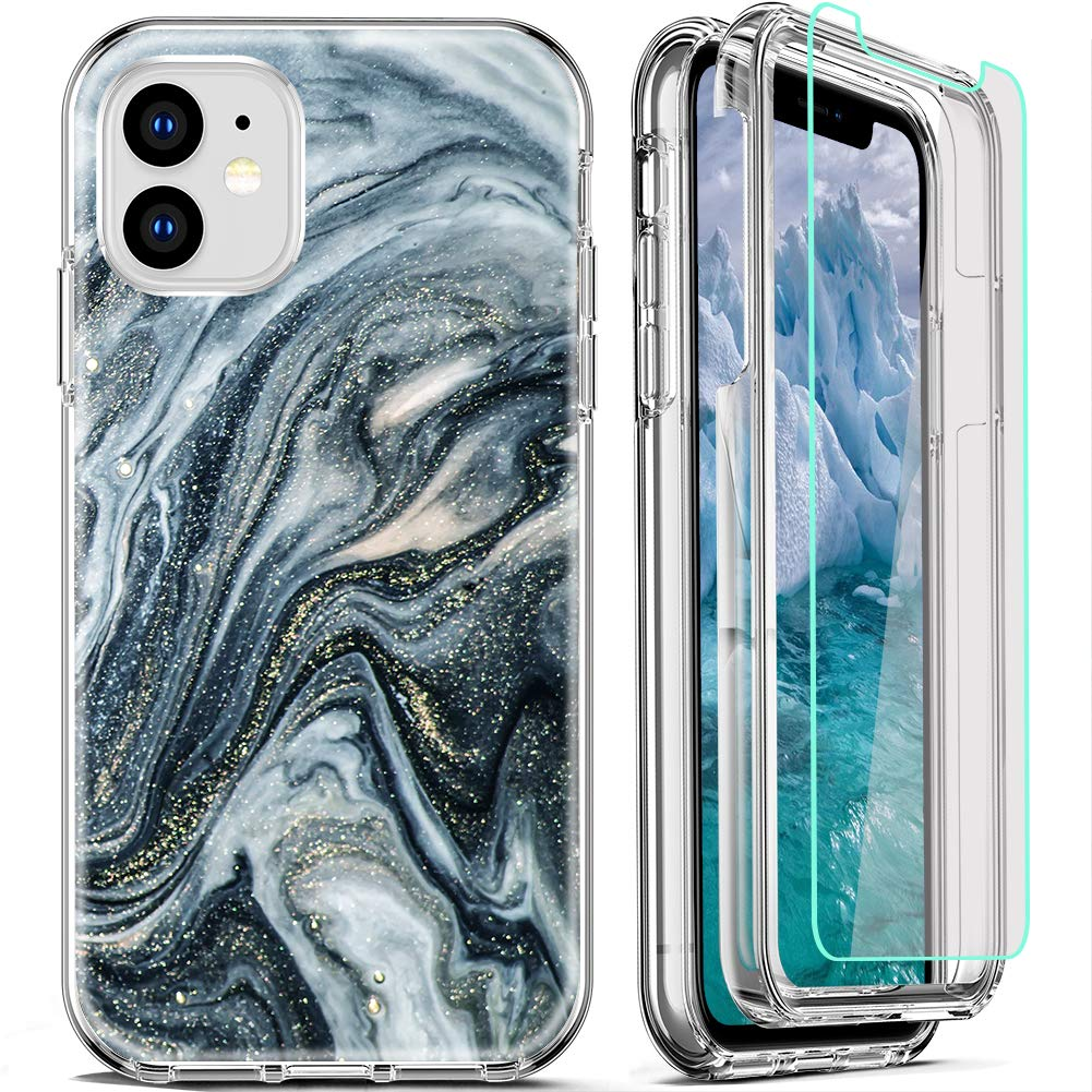 FIRMGE for iPhone 11 Case, with [2 x Tempered Glass Screen Protector] 360 Full-Body Coverage Hard PC+Soft TPU Silicone 3 in 1 Military Grade Heavy Duty Shockproof Phone Protective Cover Marble 02