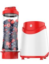 Vremi Personal Blender for Shakes and Smoothies - Single Serve Small Mini Size Kitchen Appliance with Heavy Duty Motor BPA Free Tritan Plastic 20 oz Sport Bottle Jar and Leak Proof Lid - White and Red