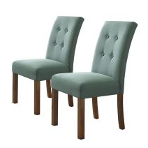 HomePop Parsons Classic Button Tufted Accent Dining Chair, Set of 2,  Aqua