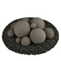 Ceramic Fire Balls | Mixed Set of 13 | Modern Accessory for Indoor and Outdoor Fire Pits or Fireplaces – Brushed Concrete Look | Charcoal Gray