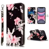 Compatible with iPhone 11 Wallet Case,JanCalm Cute Floral Pattern Premium PU Leather [Wrist Strap] [Card/Cash Slots] Stand Feature Flip Cases Cover for iPhone 11 Case (2019) (Black/Flower)