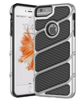 iPhone 6S Case,iPhone 7 Case,Spevert [Carbon Fiber Series] Dual Layer Hybrid Shock Absorption Scratch Proof Slim Protective Case for iPhone 6S/iPhone 7 4.7 inches - Silver/Black