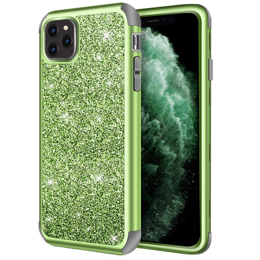 Hython Glitter Case for iPhone 11 Pro, 5.8-inch, Heavy Duty Full-Body Defender Protective Case Bling Sparkle Hard Shell Armor Hybrid Shockproof Rubber Bumper Cover for iPhone 11 Pro 2019, Green
