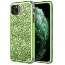 Hython Case for iPhone 11 Pro Max, Heavy Duty Full-Body Defender Protective Case Bling Glitter Sparkle Hard Shell Armor Hybrid Shockproof Rubber Bumper Cover for iPhone 11 Pro Max 2019, Green