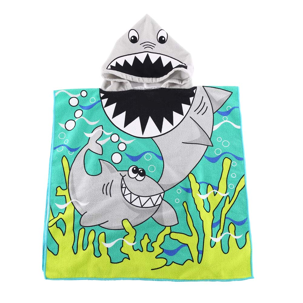 Kids Hooded Beach Bath Towel Poncho for Toddler Infant Boys Cute Soft Cartoon Swim Towels Wrap with Hood for Girls (shark01, 2-7 Years)