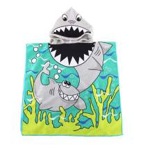 "Kids Hooded Beach Bath Towel for Age 2-7 Years - Swim Pool Coverup Poncho Cape Multi-use for Bath/Shower/Pool/Swim 24"" x 48""(Shark)"