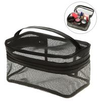 Ultra-Light Makeup Bag Portable Mesh Cosmetic Organizer Case Travel Toiletry Bag with Handle for Vacation from Lesirit (A)