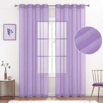 July Joy Semi Linen Look Sheer Curtains for Bedroom, Living Room Grommet Light Filtering Solid Voile Window Curtains, Set of 2 Panels (52 x 84 inch, Lilac)
