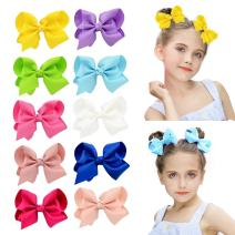 "DEEKA 10 PCS Multi-colored 4"" Hand-made Grosgrain Ribbon Hair Bow Alligator Clips Hair Accessories for Little Girls"