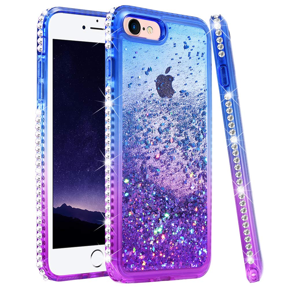 """Ruky iPhone 6 6S 7 8 Case, iPhone SE 2020 Case, Gradient Quicksand Series Glitter Flowing Liquid Floating Bling Diamond Soft TPU Girls Women Phone Case for iPhone 6/6s/7/8/SE 2020 4.7"""" (Blue Purple)"""