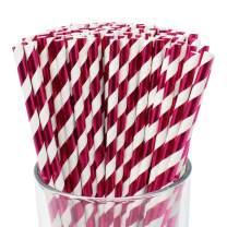 Just Artifacts 100pcs Premium Biodegradable Striped Paper Straws (Striped, Metallic Fuchsia)
