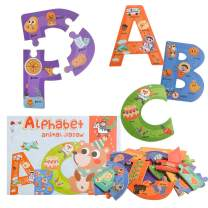 Wooden Jumbo Alphabet ABC Letter Puzzle Color Shape Animals Recognition Montessori STEM Jigsaw Preschool Learning Educational Toy for Kids 3 Years Old Boys Girls Gift