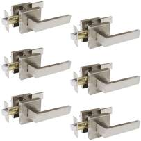 Probrico 6 Pack Passage Door Levers for Hall and Closet,Satin Nickel Finish Square Door Handles Interior Non-Locking Hardware, Keyless Feature Leversets,Heavy Duty