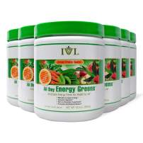 IVL Hi-Octane All Day Healthy Energy Greens Powder, 30 Servings per Canister, Fruity Flavor (Pack of 6)