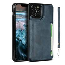MAGEXIOAYU iPhone 12 Case Wallet with Credit Card Holder,Leather Magnetic Clasp Kickstand Heavy Duty Protective Cover for iPhone 12 Pro (Blue)