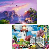 5D DIY Diamond Painting Piedmont & Seaside Lighthouse Scenery for Adults Full Drill by Number Kits, Landscape Paint with Diamonds Craft Embroidery Rhinestone Art Decor (12 x 16 inch)