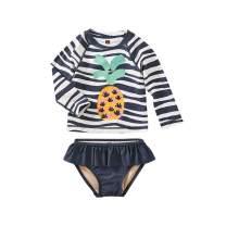 Tea Collection Ruffle Rash Guard Swimwear Set, Girls, Batik Waves