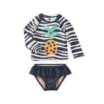 Tea Collection Ruffle Rash Guard Swimwear Set, Girls, Batik Waves