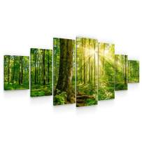 Startonight Large Canvas Wall Art - Sun Rays Through Green Branches of Trees - Huge Framed Modern Set of 7 Panels 40 x 95 Inches