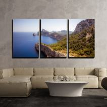 "wall26 - 3 Piece Canvas Wall Art - Mountains Along The Sea Coast - Modern Home Decor Stretched and Framed Ready to Hang - 16""x24""x3 Panels"