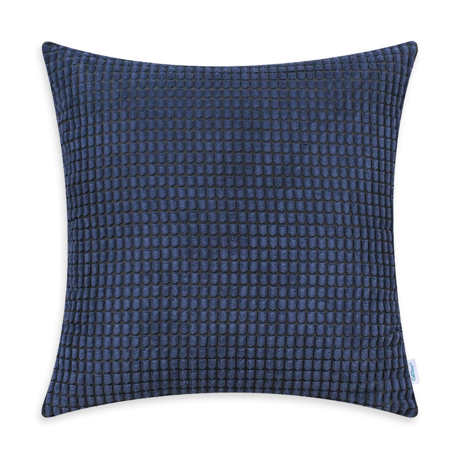 CaliTime Cozy Throw Pillow Cover Case for Couch Sofa Bed Comfortable Supersoft Corduroy Corn Striped Both Sides 18 X 18 Inches Navy Blue