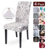 SearchI Dining Room Chair Covers Set of 4, Spandex Fabric Fit Stretch Removable Washable Short Parsons Kitchen Chair Covers Protector for Dining Room, Hotel, Ceremony(White Flower, 4 per Set)