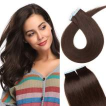 S-noilite 20Pcs 60g Remy Tape in Hair Extensions Human Hair Seamless Skin Weft Invisible Double Sided Glue in hair for women Silky Straight 18 Inch #02 Dark Brown Color