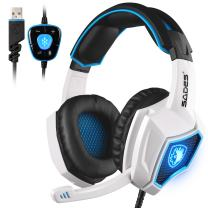 Sades Spirit Wolf 7.1 Stereo USB Gaming Headset Headphones with Microphone Volume Control Breathing LED Lights for PC (Blue White)