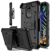 lovpec LG K40 Case, LG Solo LTE Case, LG K12 Plus Case, LG LMX420 Case, Kickstand Swivel Belt Clip Heavy Duty Protection Full Body Shockproof Protective Phone Case Cover for LG Harmony 3 (Black)