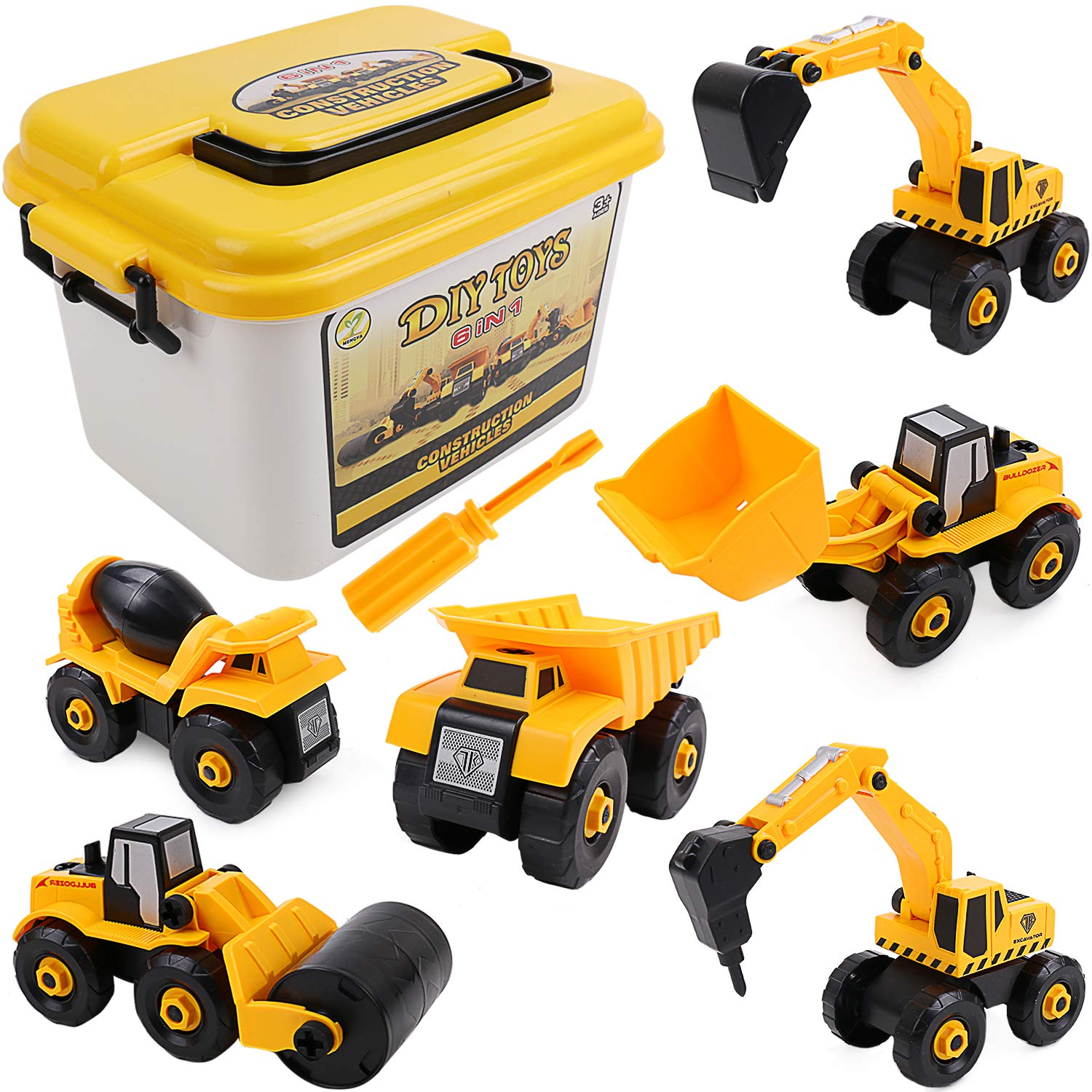 Jellydog Toy Take Apart Toys, 6 Set Construction Take Apart Trucks,Excavator, Bulldozer, Drilling, Road Roller, Dump, Cement Truck,STEM Learning Toys for Toddlers Age 3+